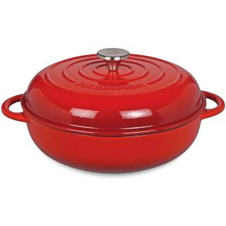 Küchenprofi | Gourmetpfanne mit hohem Deckel Gusseisen emailliert rot, 28cm